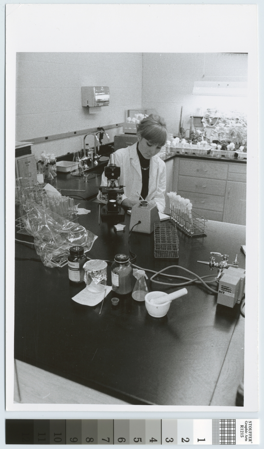 Unidentified student, biology lab, City Center, Rochester Institute of Technology