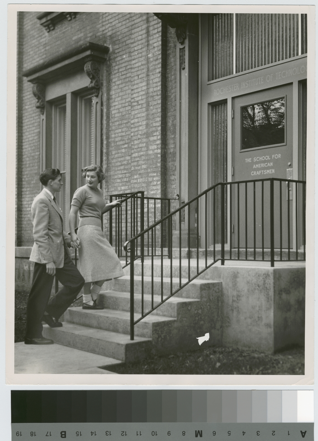 Unidentified students, entrance, School for American Craftsmen