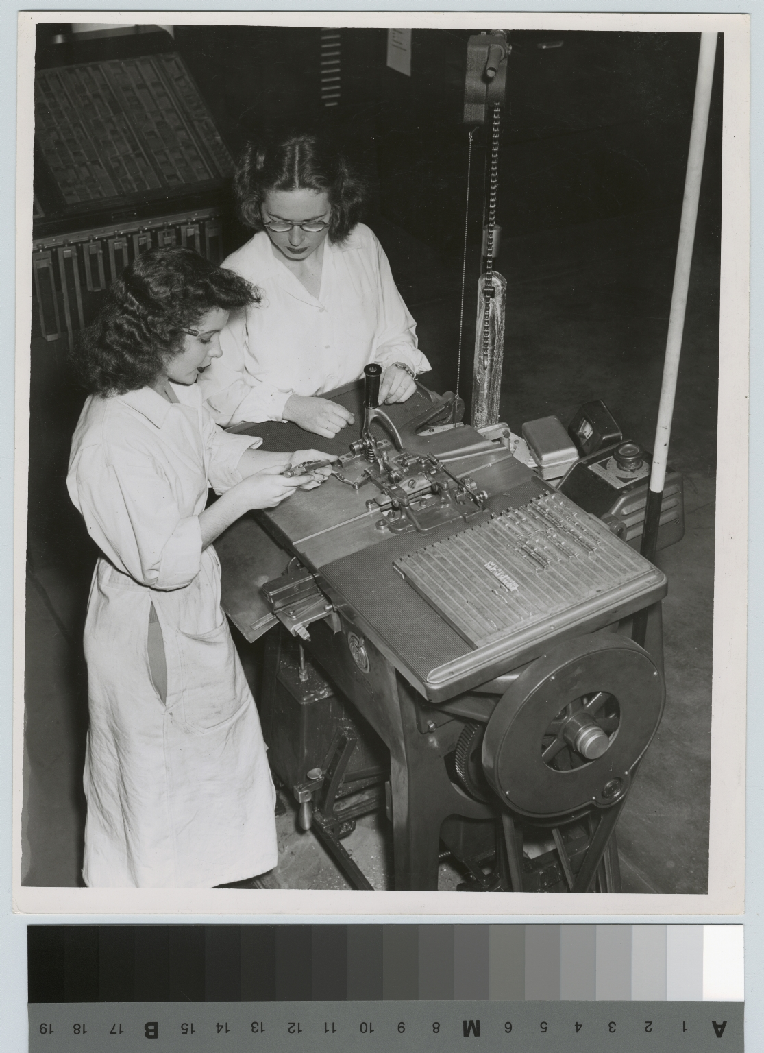 Unidentified students engage in typesetting operation. Department of Publishing and Printing, Rochester Athenaeum and Mechanics Institute