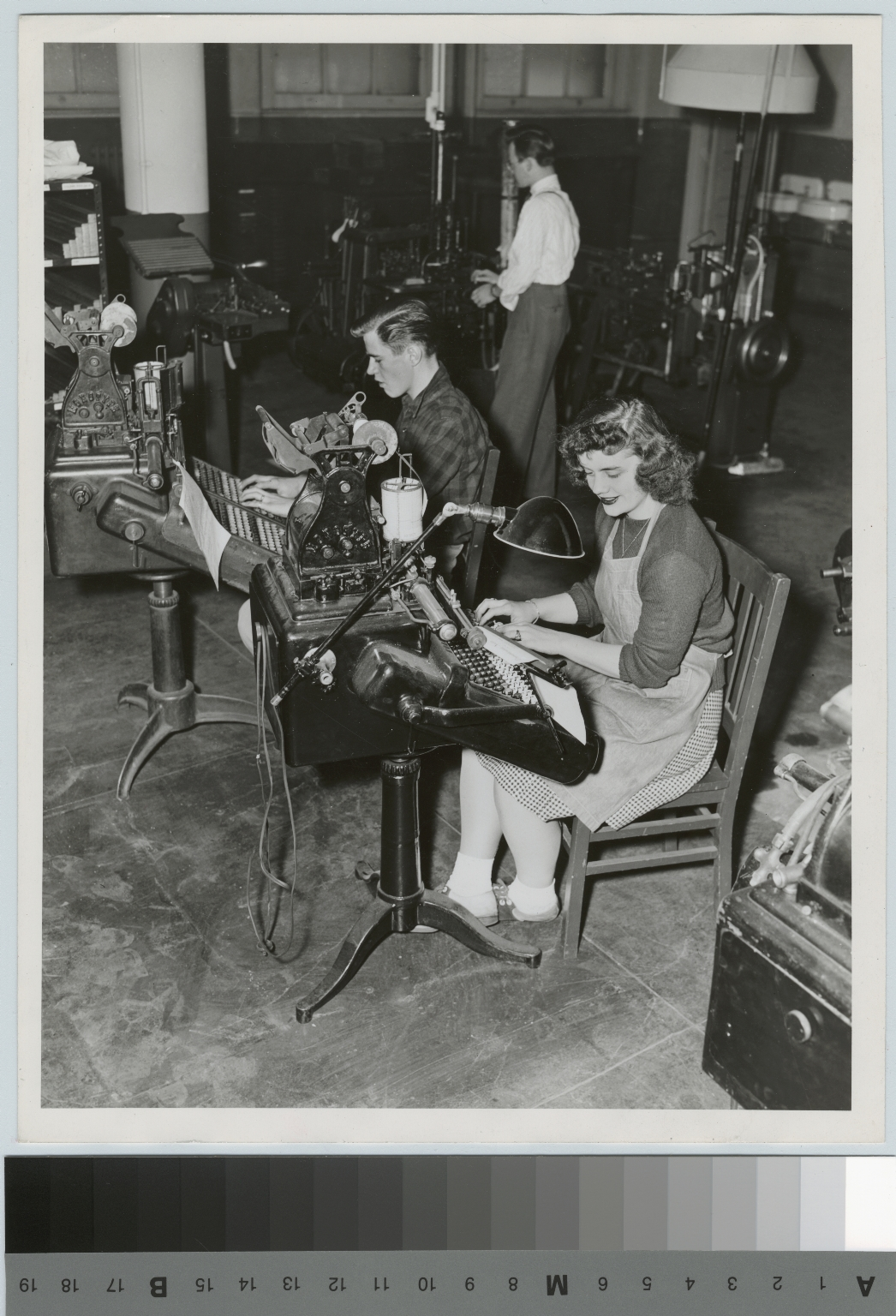 Students operate monotype machines, Department of Publishing and Printing, Rochester Athenaeum and Mechanics Institute