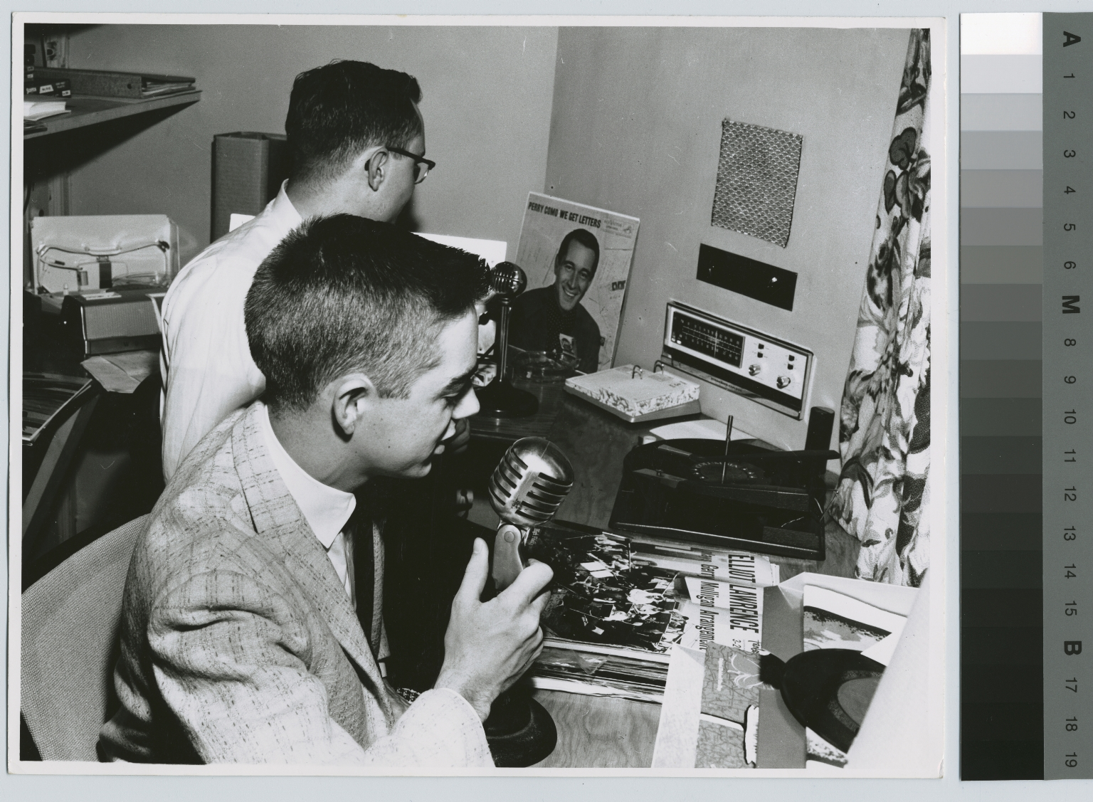 Students, Charles Murphey and Frank Lang in studio of W.I.T.R. radio station, Rochester Institute of Technology