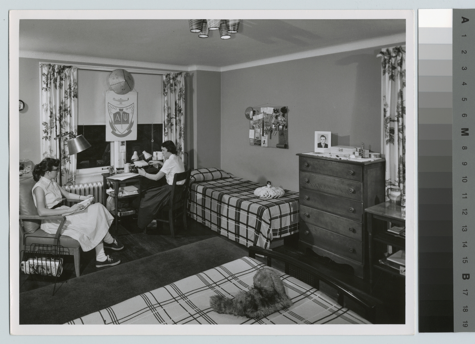 Student activities, two female students in a dorm room at Frances Baker Hall