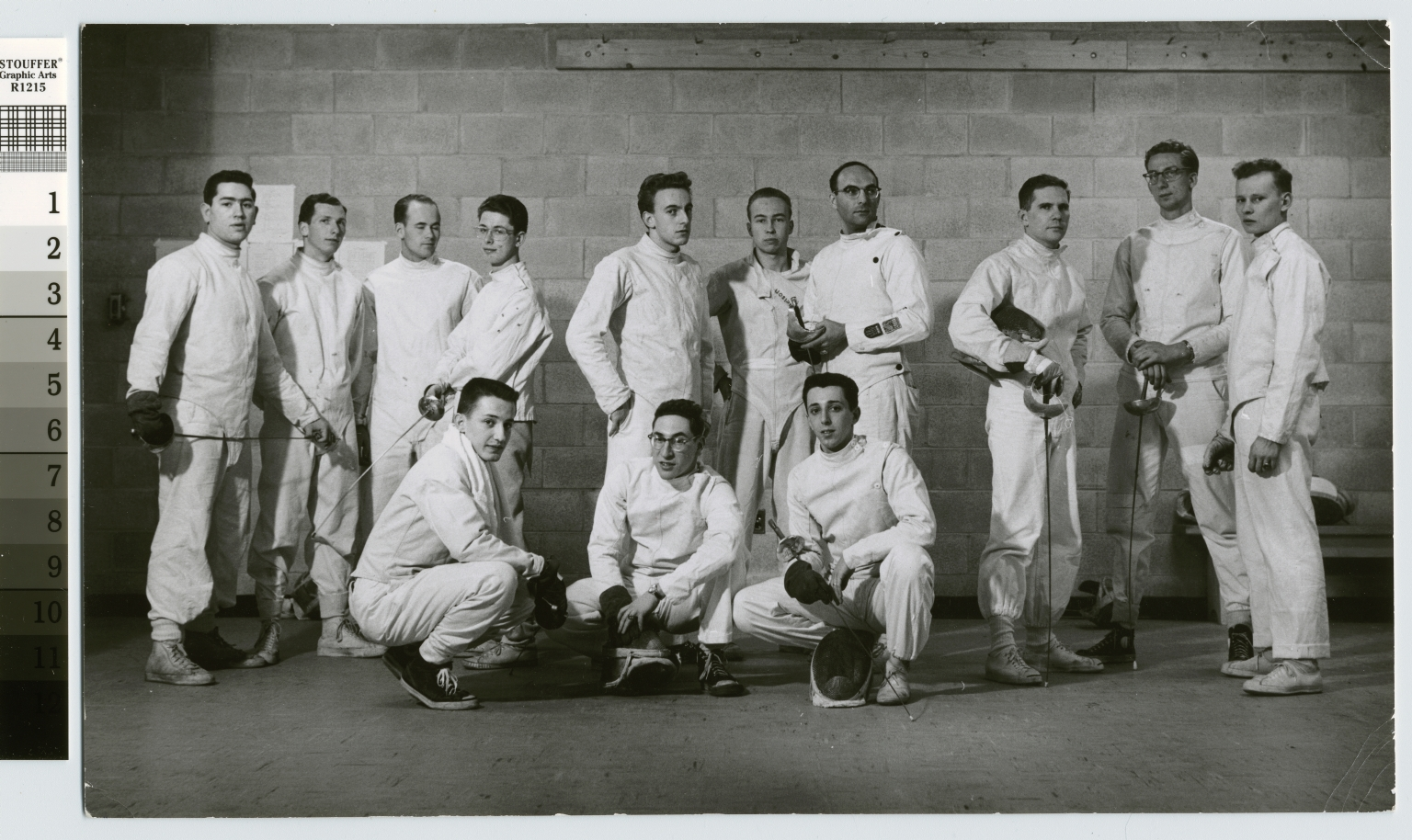 Student activities, group portrait of the RIT men's fencing team. 1956