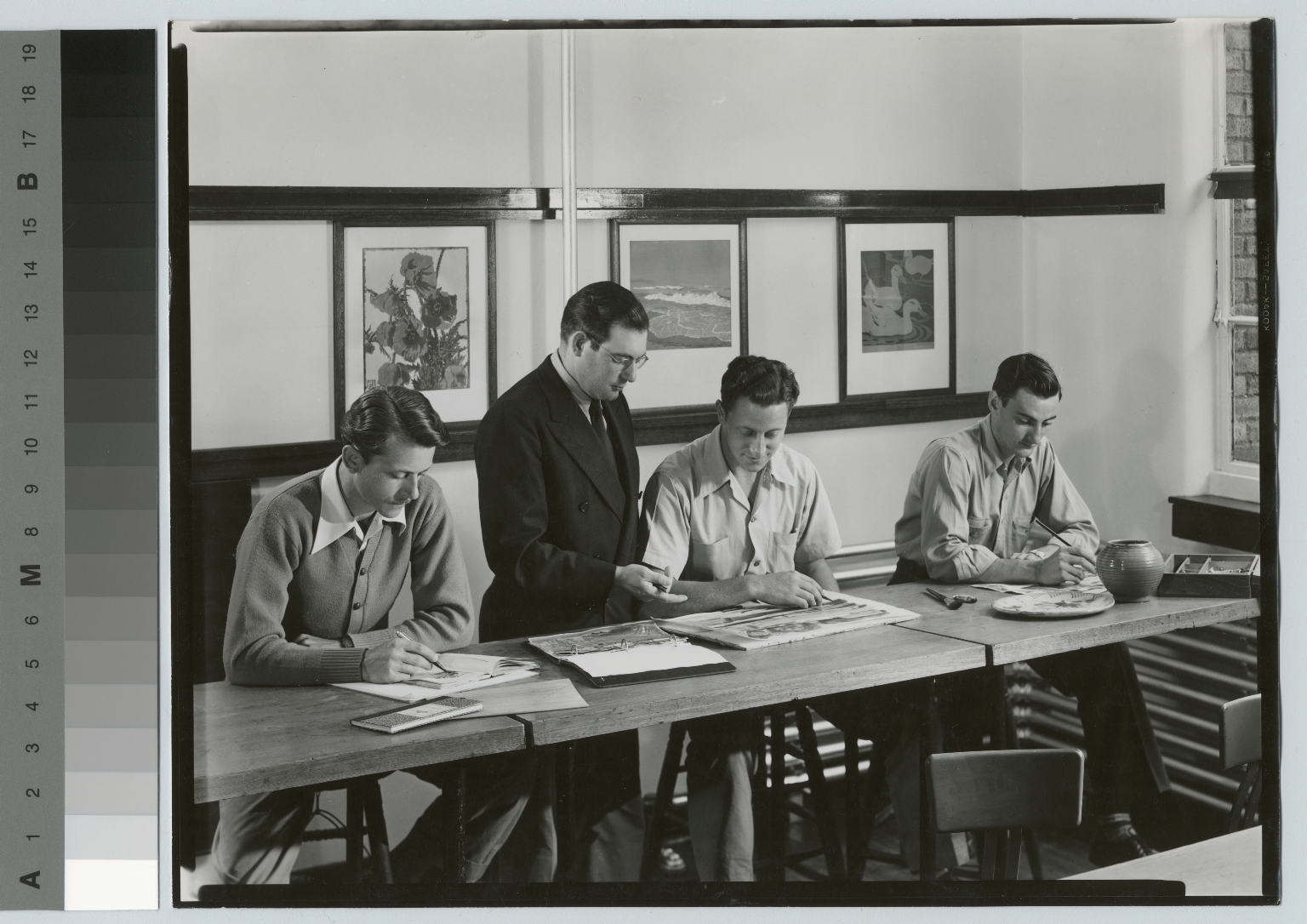 Academics, art and design, Rochester Institute of Technology Dept. of Applied and Fine Arts, students working with an instructor, 1950