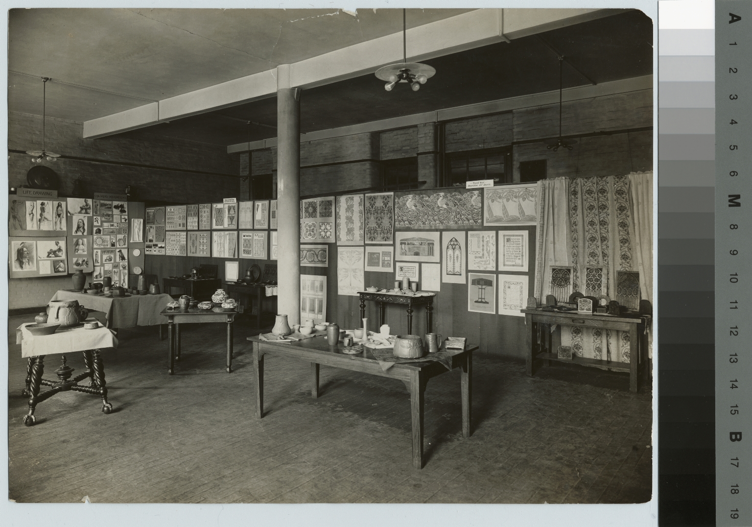 Academics, art and design, interior view of an exhibition of student work, 1910