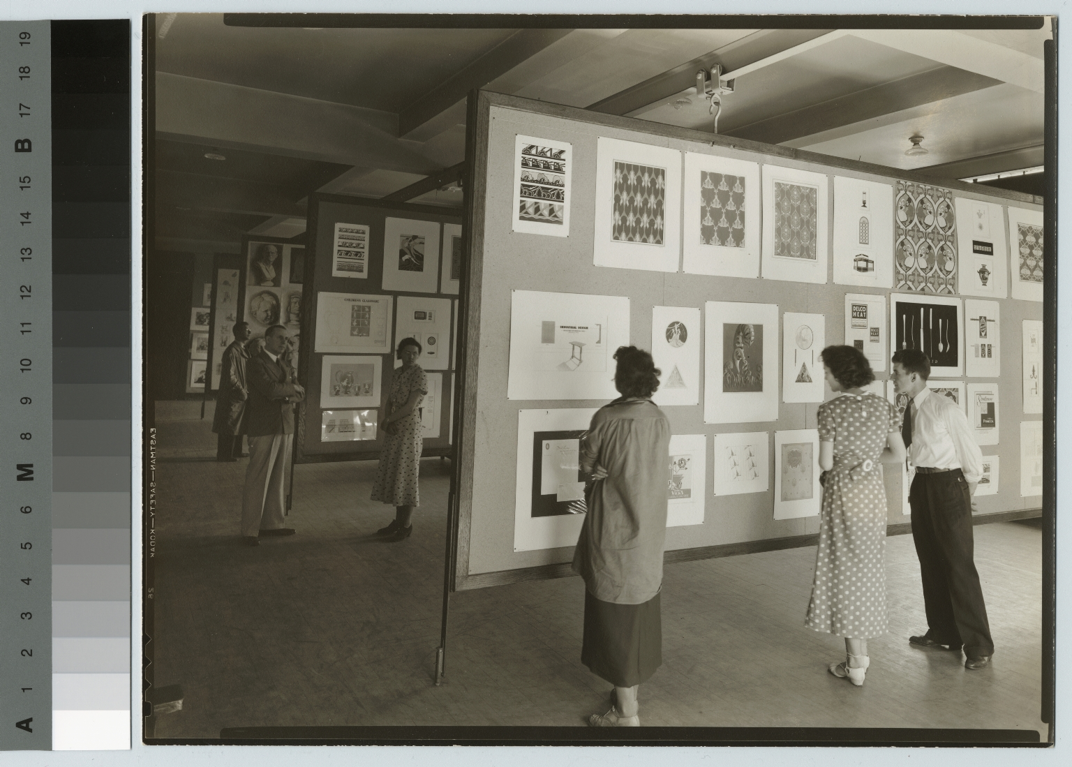 Academics, art and design, interior view of an exhibition of student work, [1930-1940]