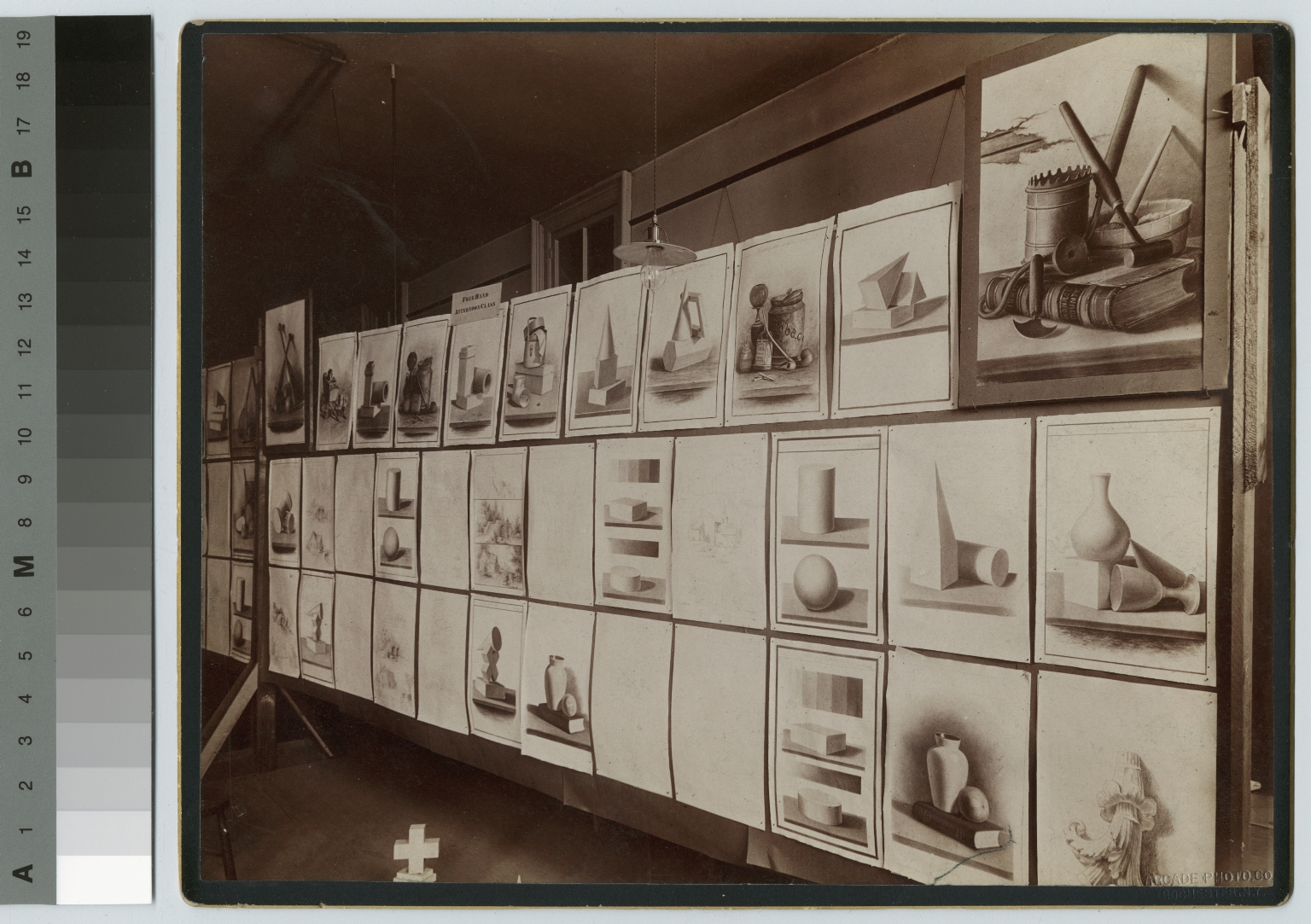 Academics, art and design, interior view of an exhibition of student drawings, [1900-1920]