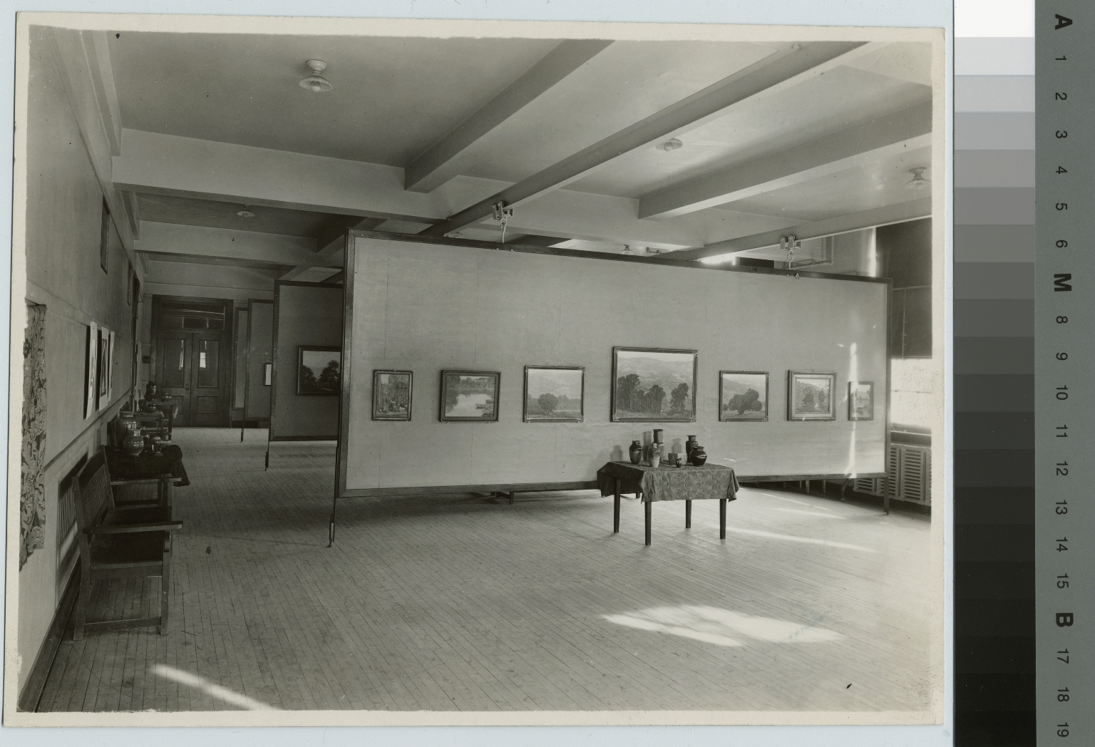 Academics, art and design, interior view of an exhibition of student work in Bevier Gallery.  [1920-1940]