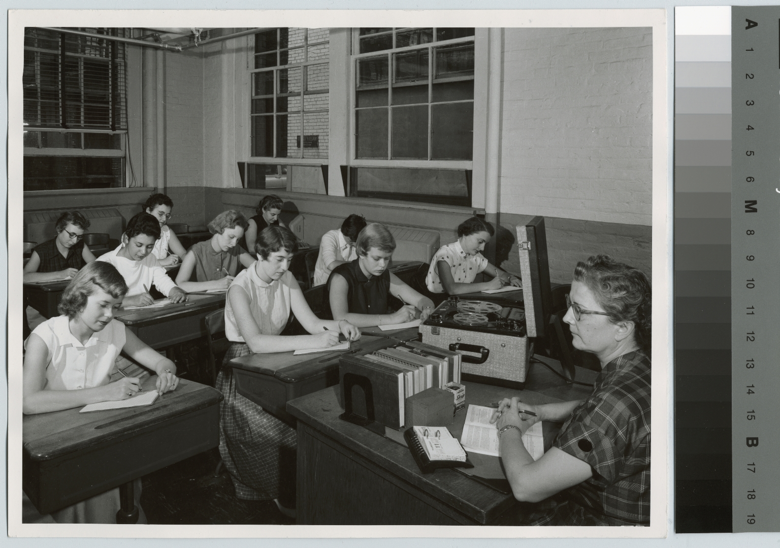 Academics, business, short-hand class. August 11, 1955