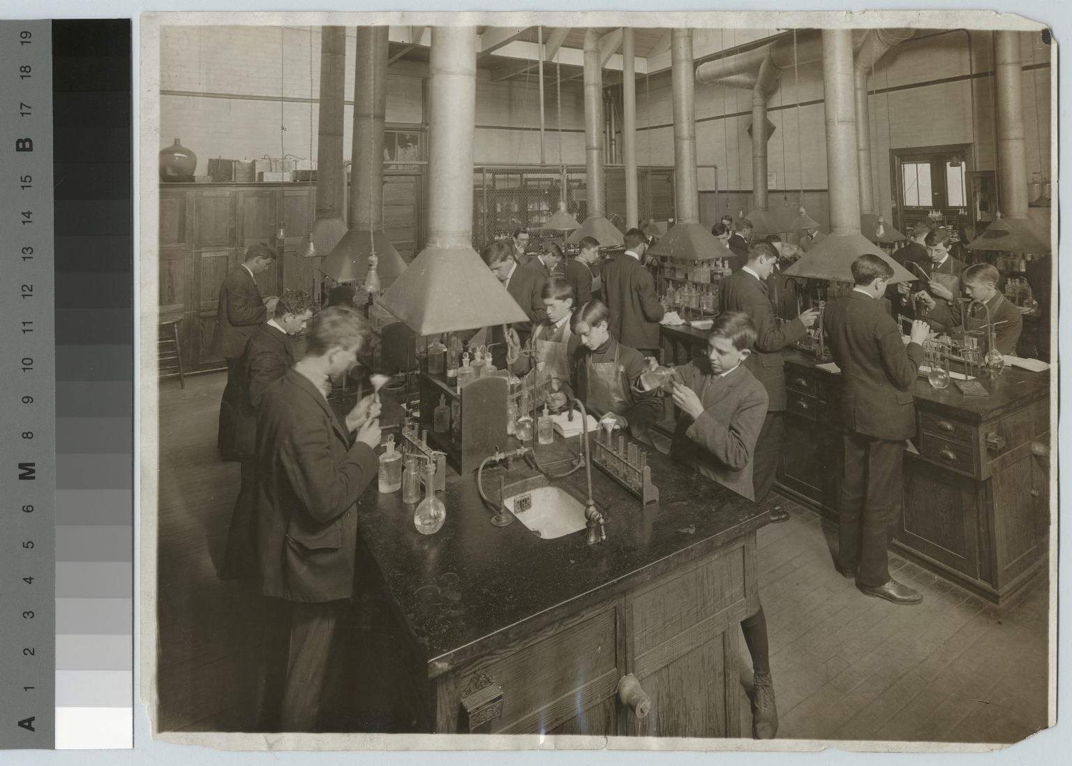 Academics, chemistry, Rochester Athenaeum and Mechanics Institute chemistry laboratory with students working on experiments, [1905-1915]