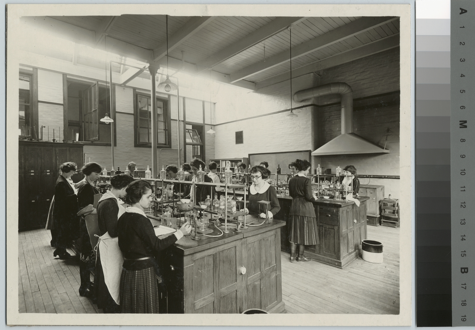 Academics, chemistry, female students in a food analysis laboratory, [1900-1920]