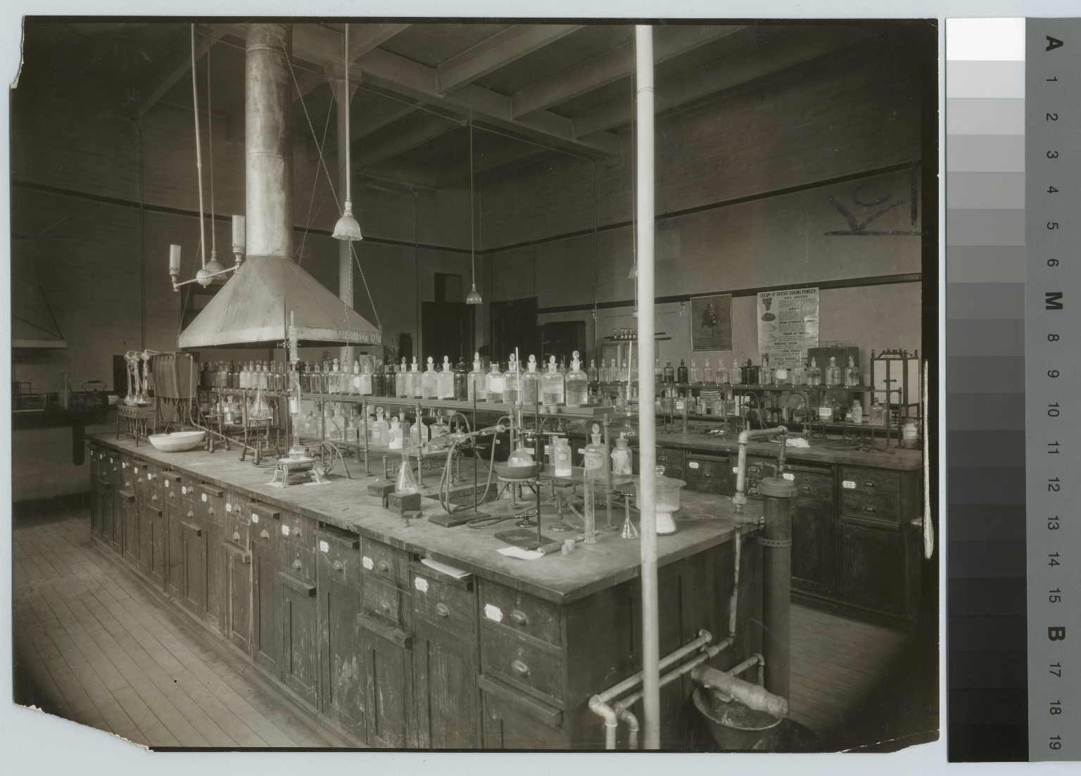 Academics, chemistry, interior view of a Rochester Athenaeum and Mechanics Institute chemistry laboratory, [1900-1920]