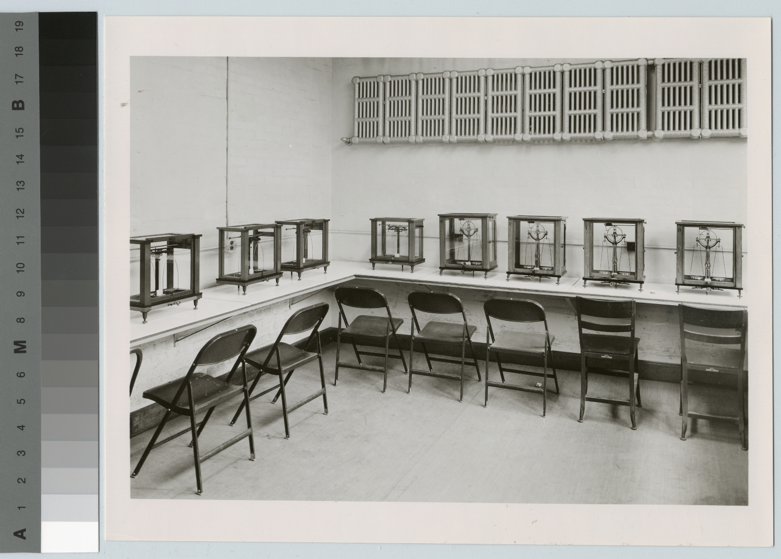 Academics, Chemistry, interior view of a Rochester Athenaeum and Mechanics Institute chemistry classsroom with scales, [1900-1945]