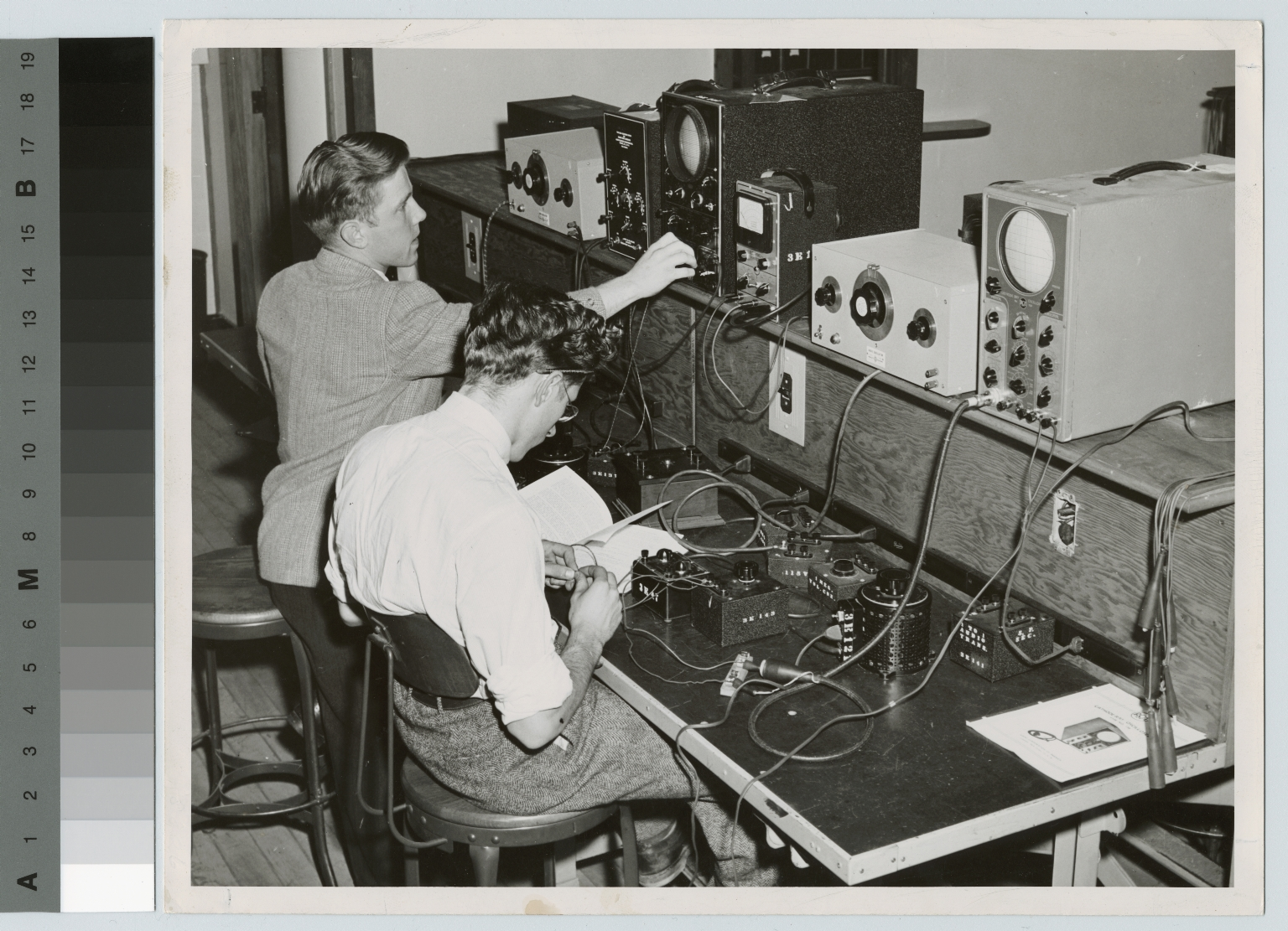 Students working on electrical equipment, Electrical Department, Rochester Institute of Technology, [1950-1960]