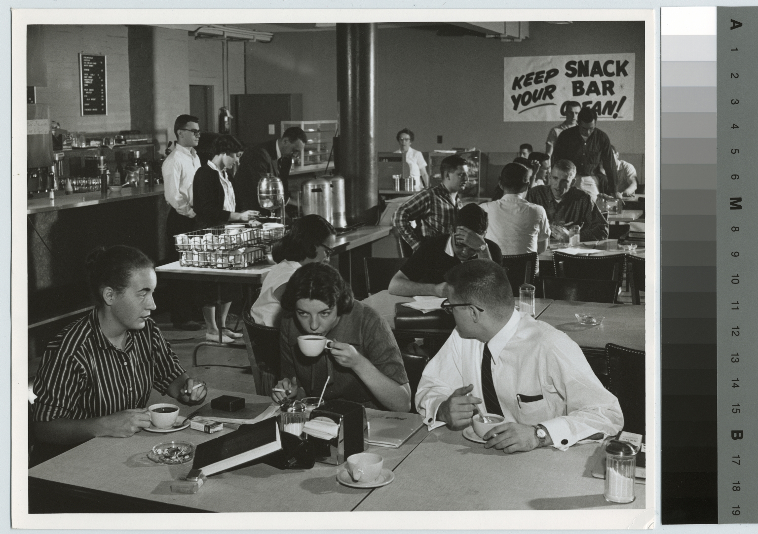 Students in snack bar in Eastman building, Rochester Institute of Technology, Downtown Campus, [1950-1959]