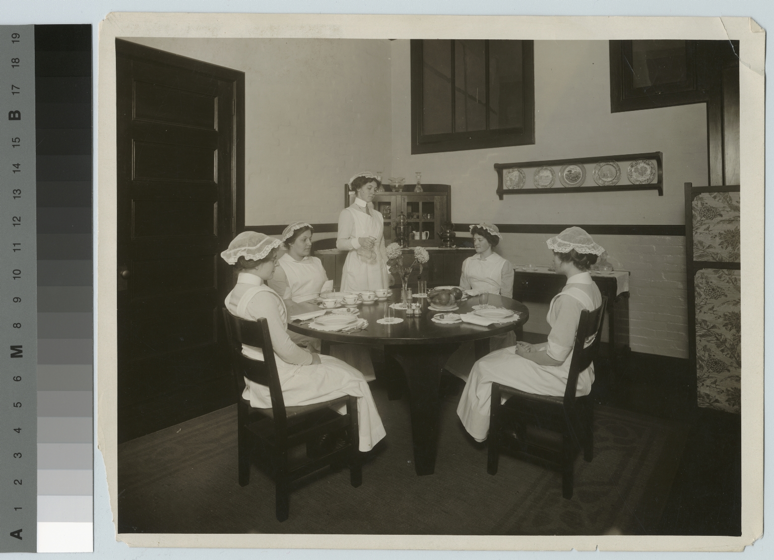Home Economics students practicing serving skills, South Washington Street, Rochester Athenaeum and Mechanics Institute, [1914]