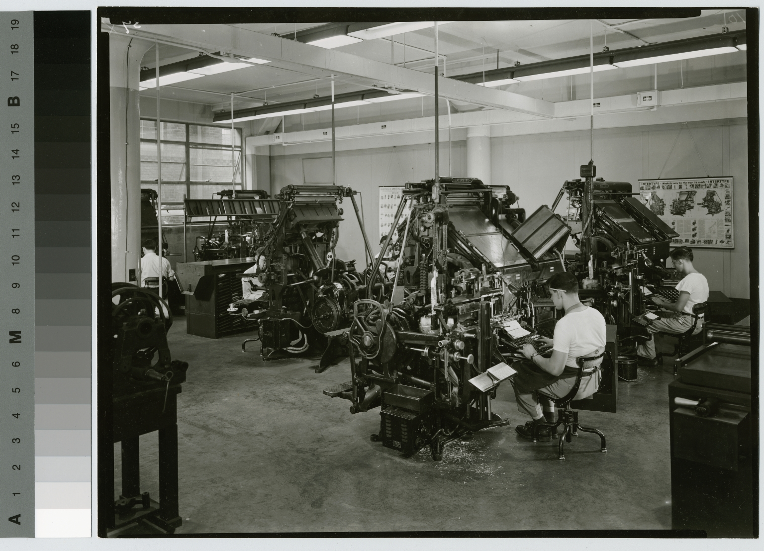 Students at Linotype machines, Department of Publishing and Printing, Clark Building, Rochester Institute of Technology
