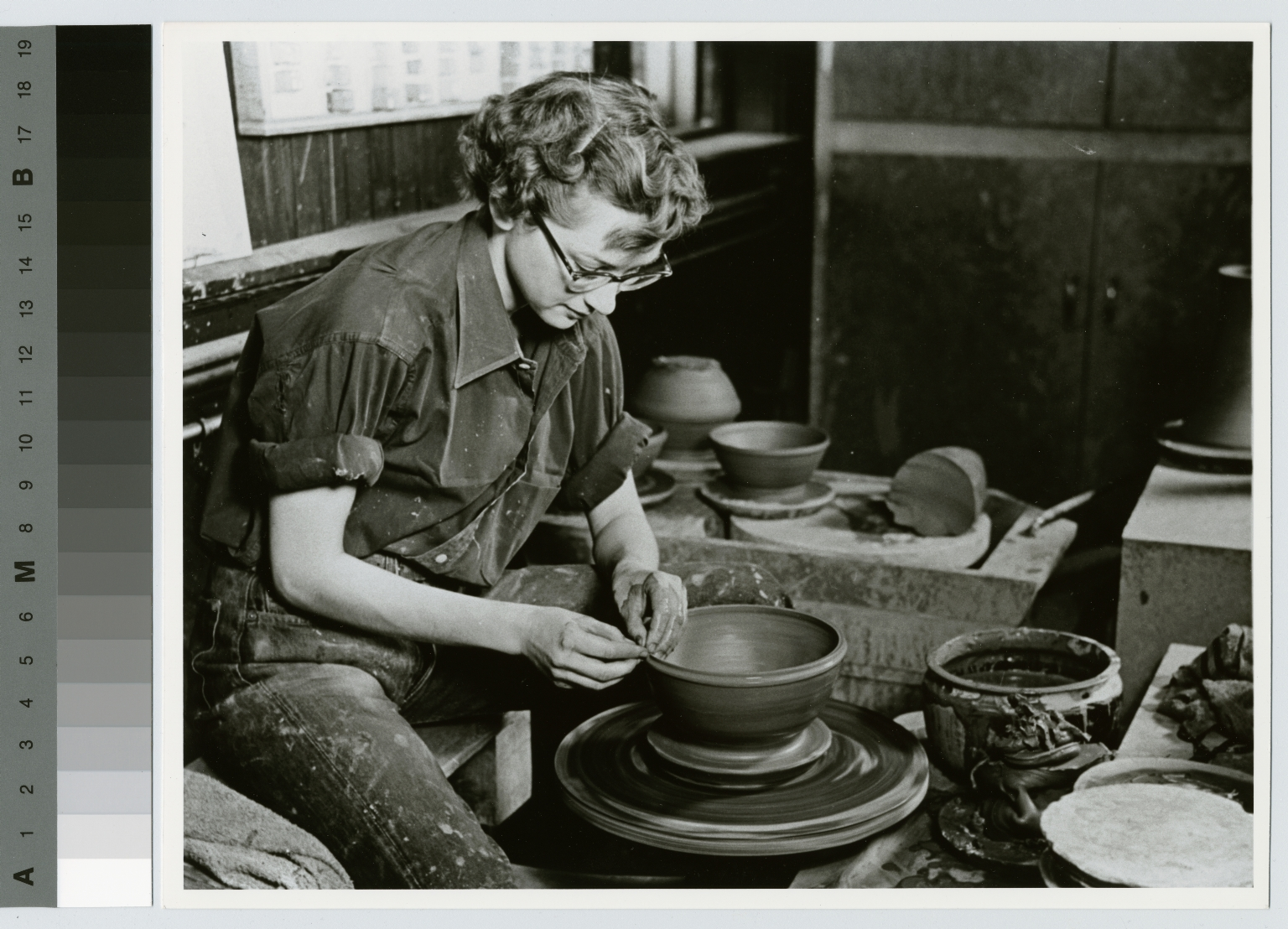 Women at pottery wheel, School for American Craftsmen, Rochester Institute of Technology