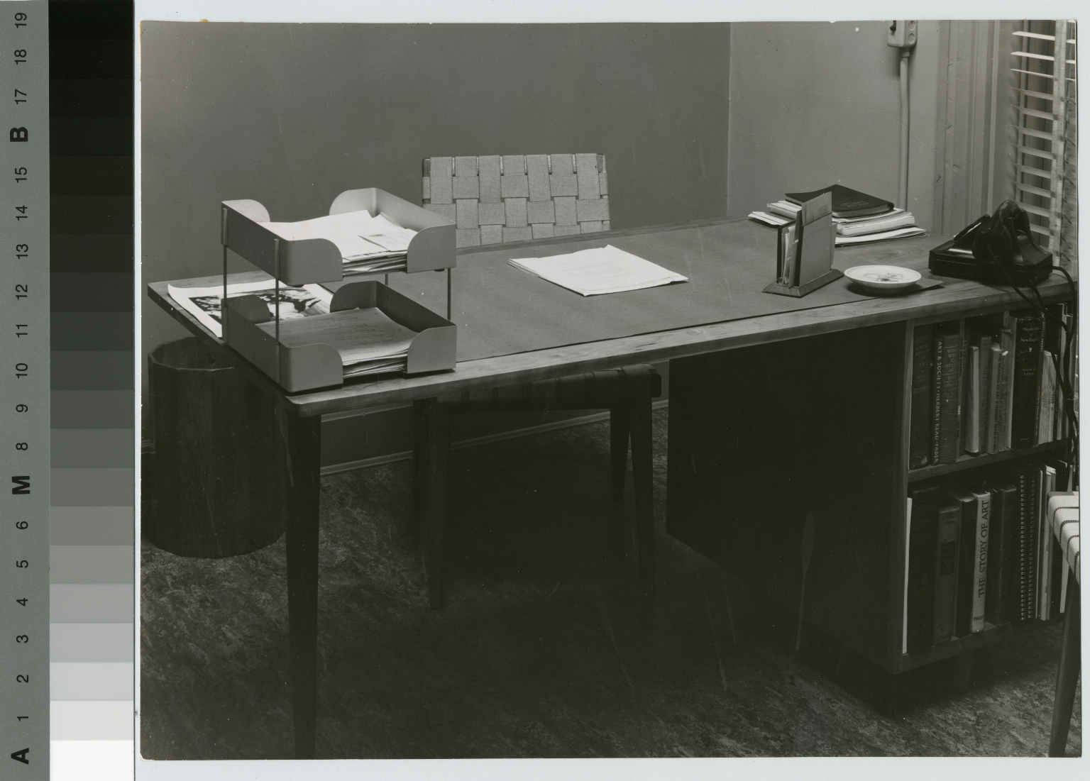 Wooden desk with bookcase and chair, School for American Craftsmen, Rochester Institute of Technology