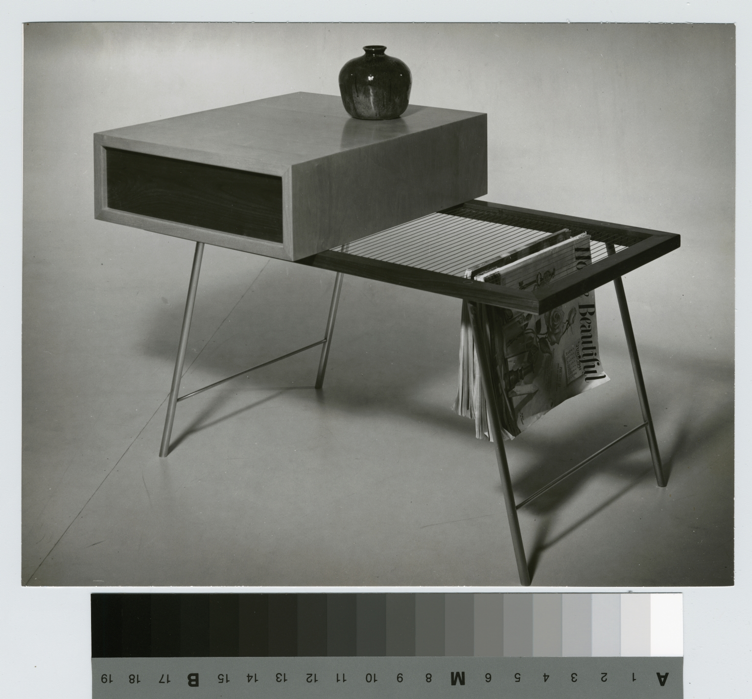 Wood coffee table with wire magazine rack, School for American Craftsmen, Rochester Institute of Technology