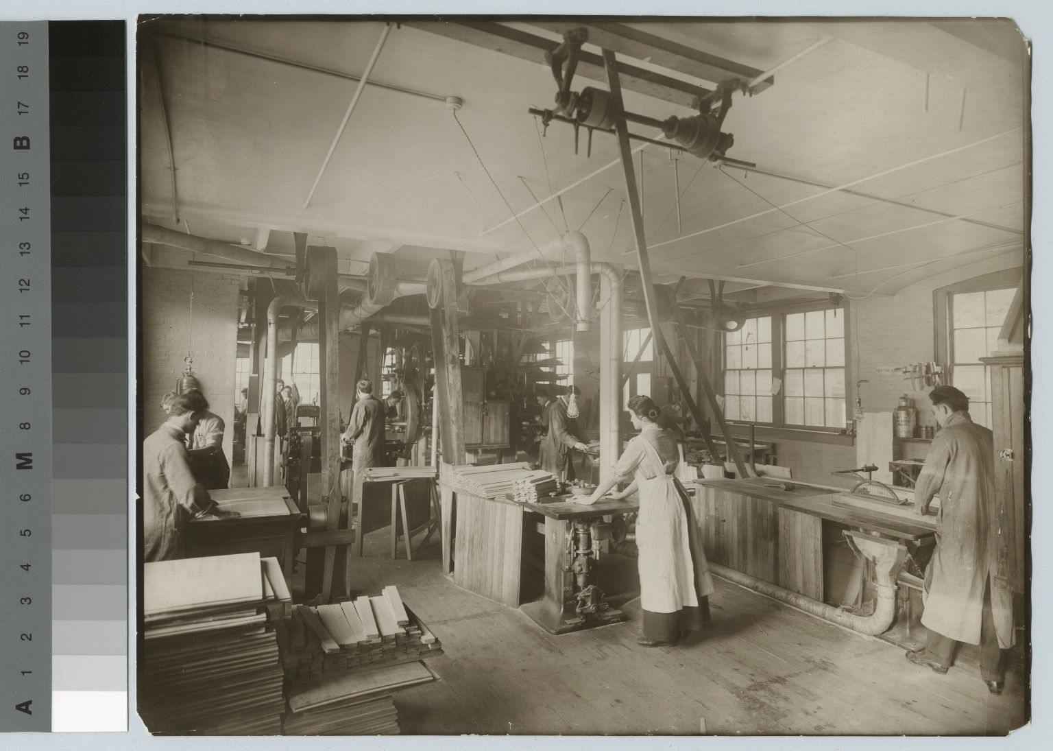 Students in woodworking shop, Department of Manual Training, Rochester Athenaeum and Mechanics Institute