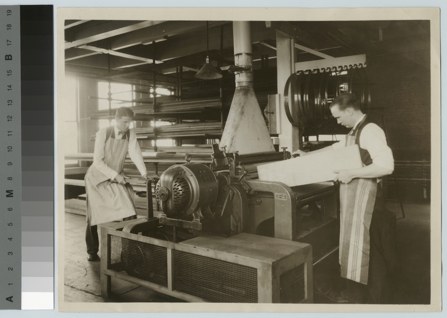 Woodworking students using equipment, Department of Manual Training, Rochester Athenaeum and Mechanics Institute