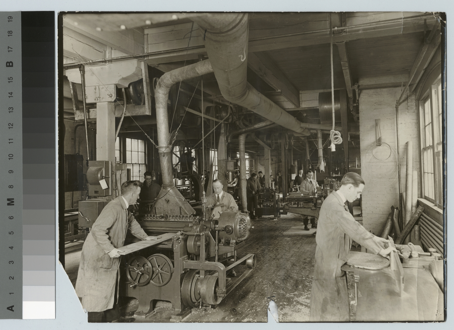 Students with woodworking machine, Department of Manual Training, Rochester Athenaeum and Mechanics Institute