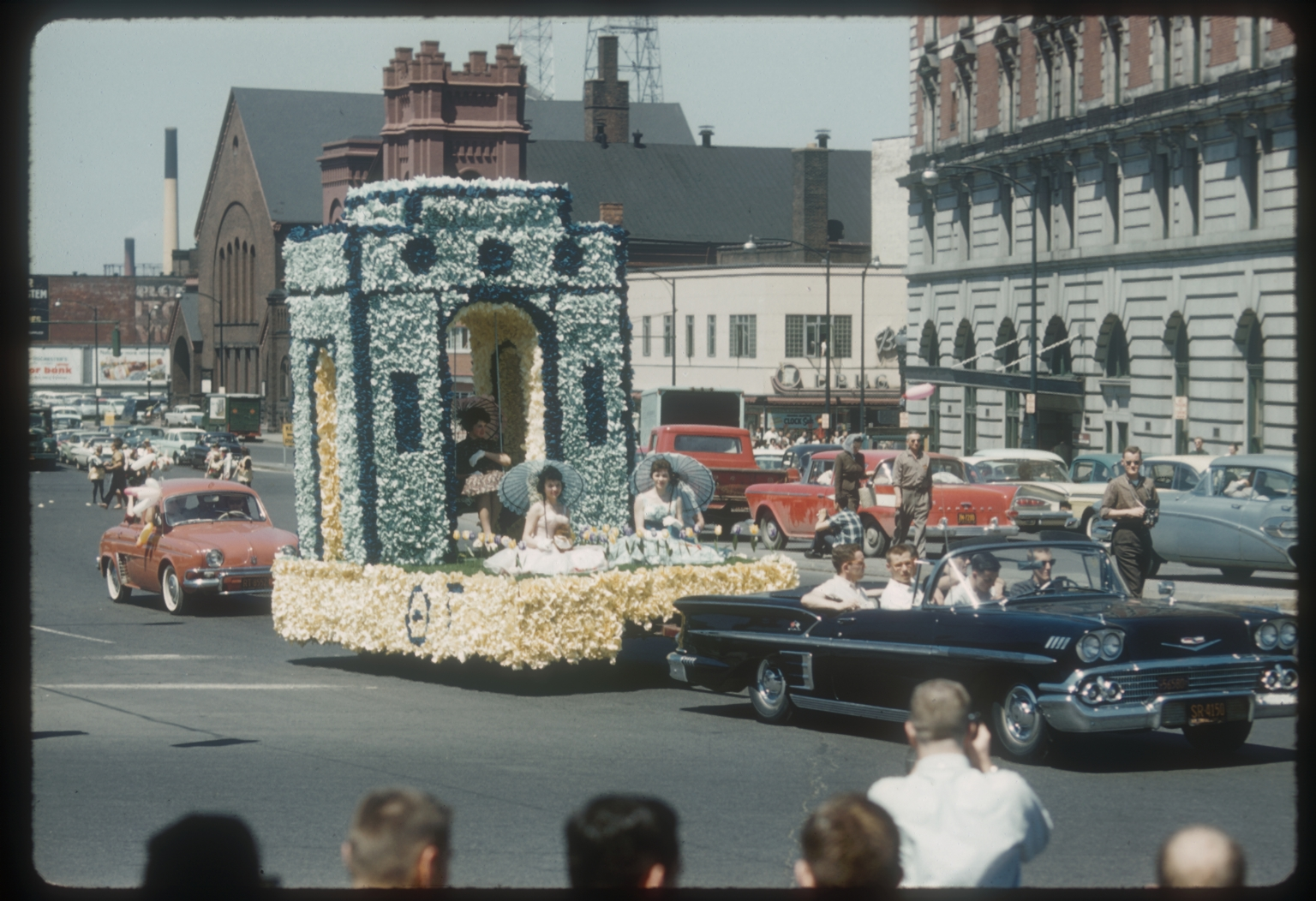 """Spring Weekend parade float in the theme of """"Songs of Spring,"""" Rochester Institute of Technology, 1960"""