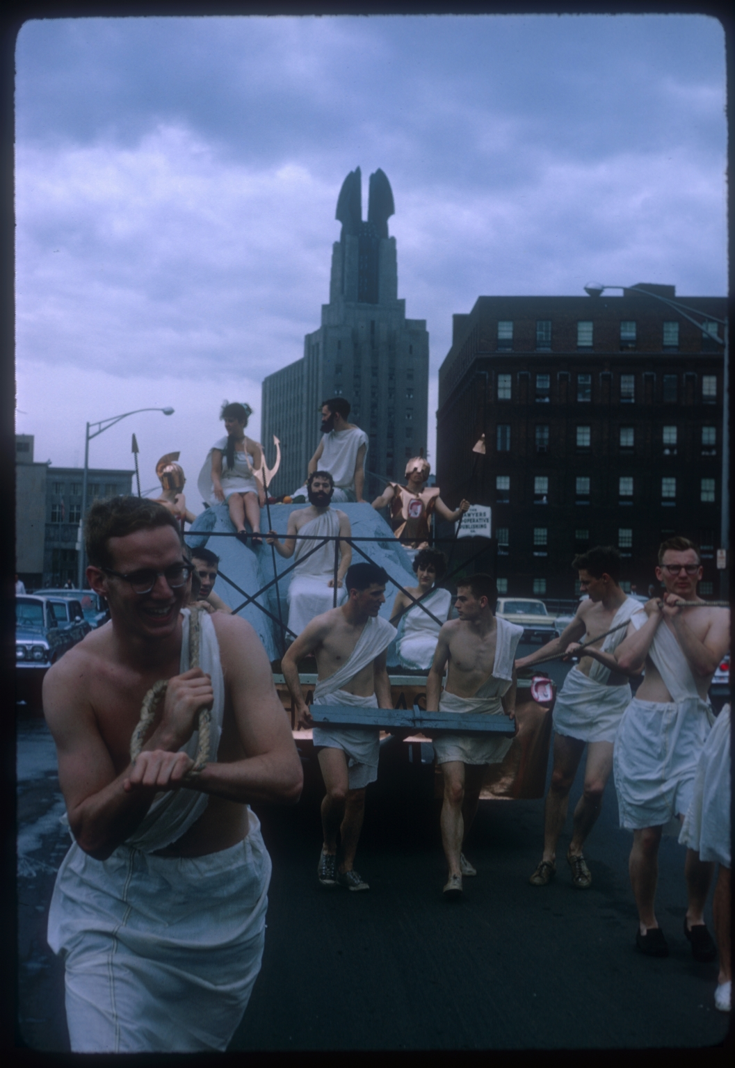 Spring Weekend parade float of Mount Olympus, Rochester Institute of Technology, 1964