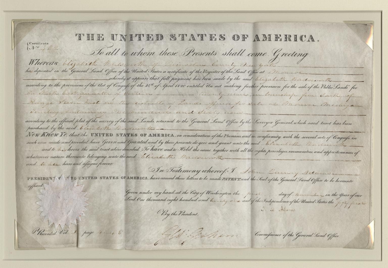 John Quincy Adams signed sale of land