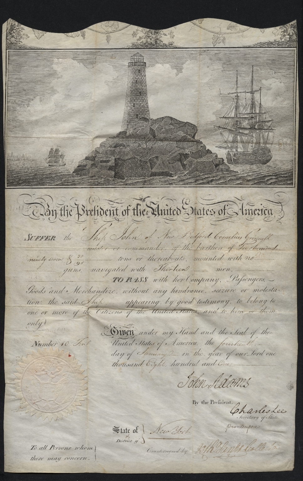 John Adams signed ship passage