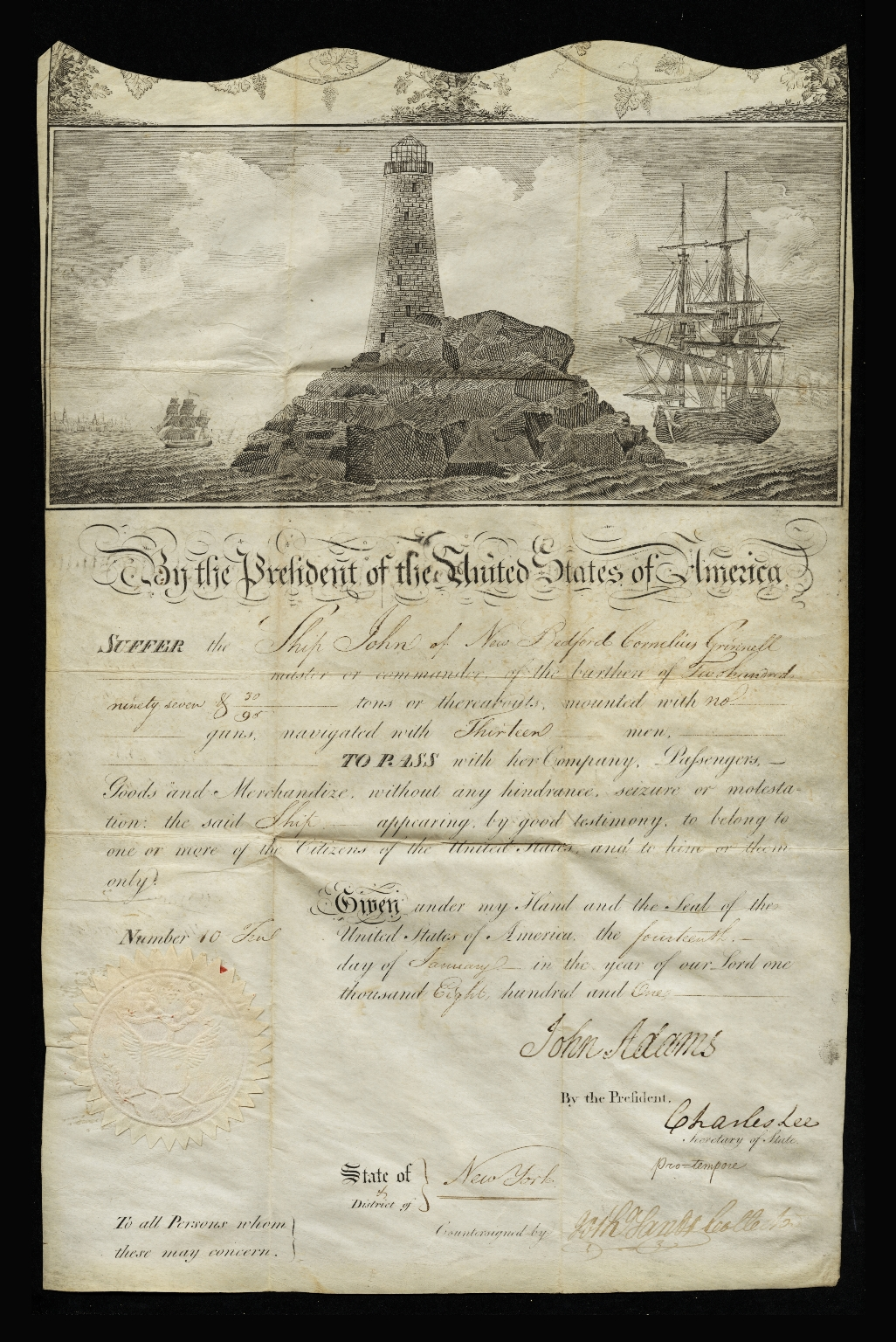 [John Adams signed shipping document]