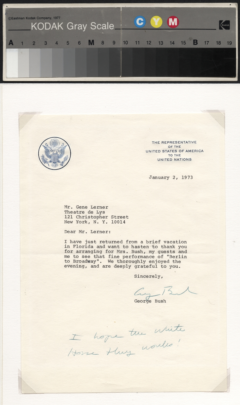 George Bush letter to Gene Lerner