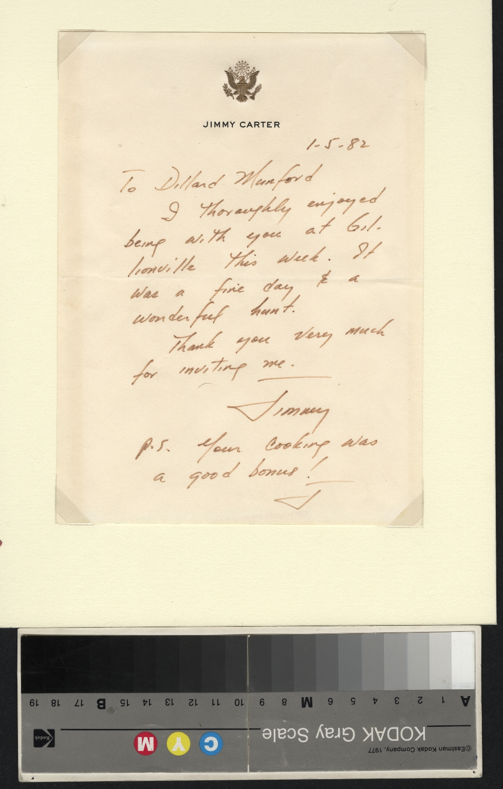 Jimmy Carter letter to Dillard Munford