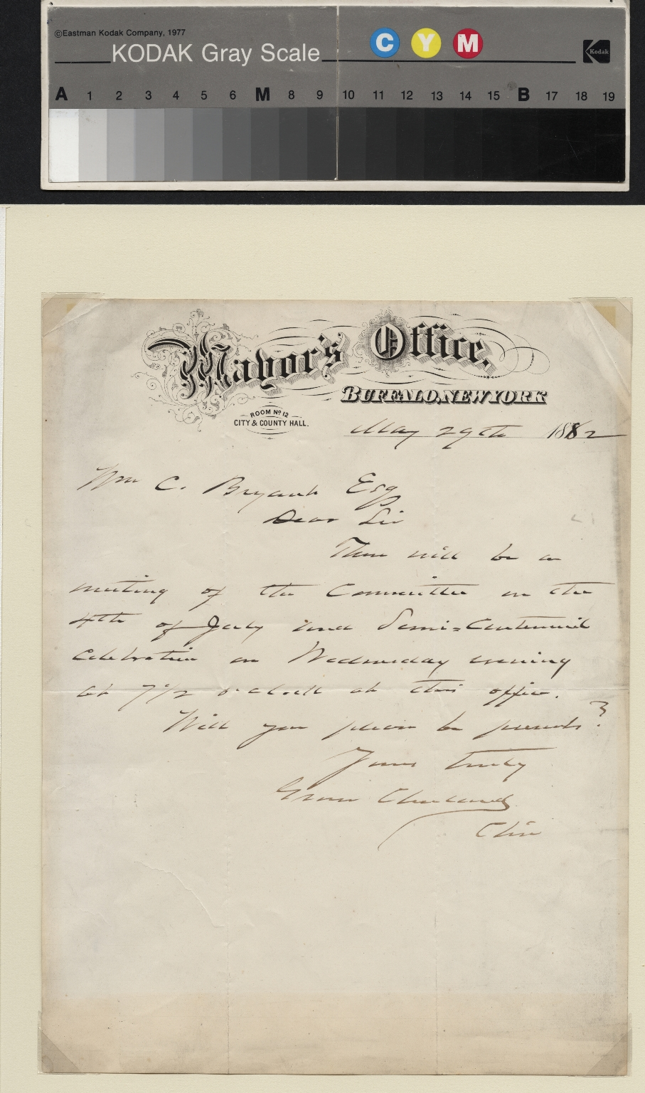 Grover Cleveland letter to C. Bryant