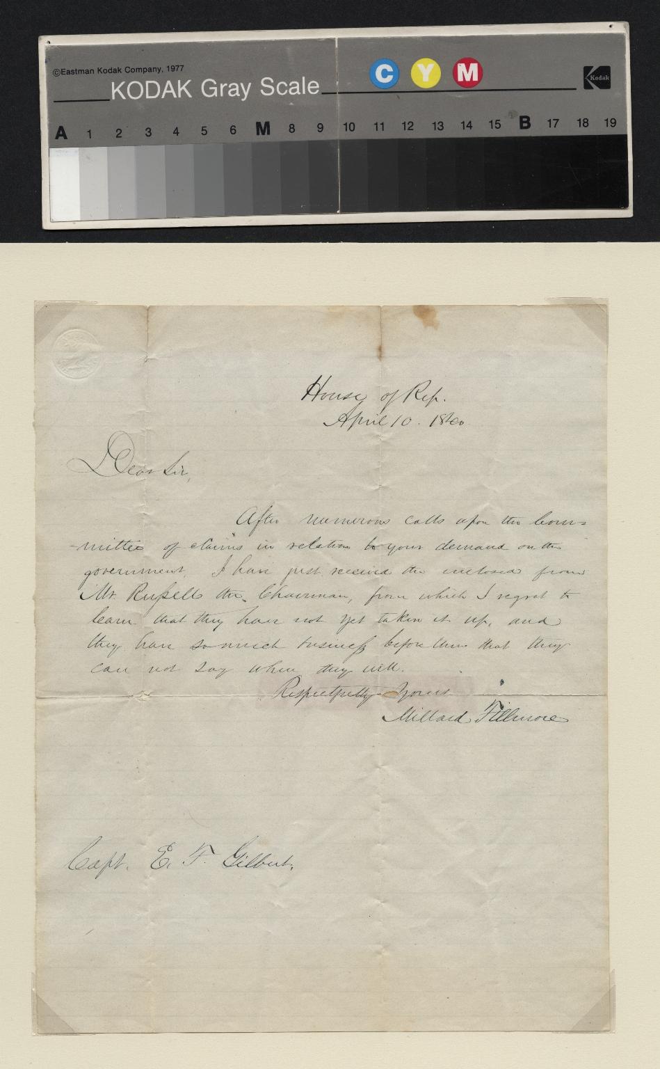 Millard Fillmore letter to Captain E. F. Gilbert