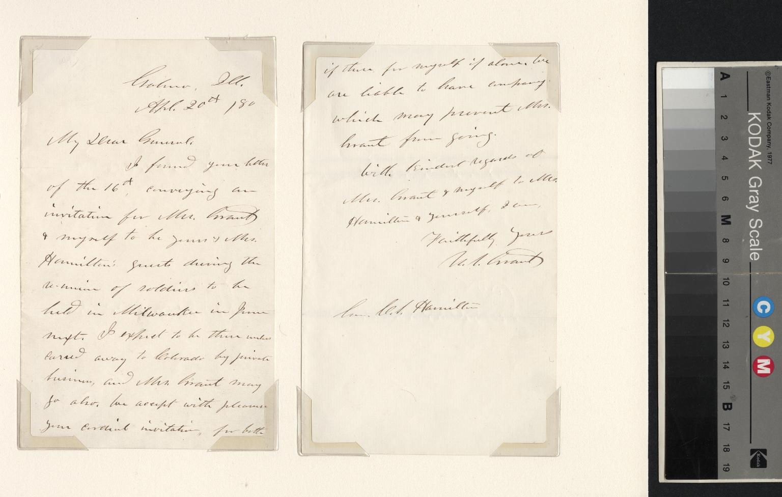 Ulysses S. Grant letter to General Hamilton