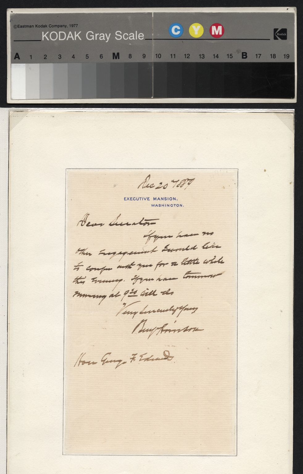 Benjamin Harrison letter to Senator Edwards