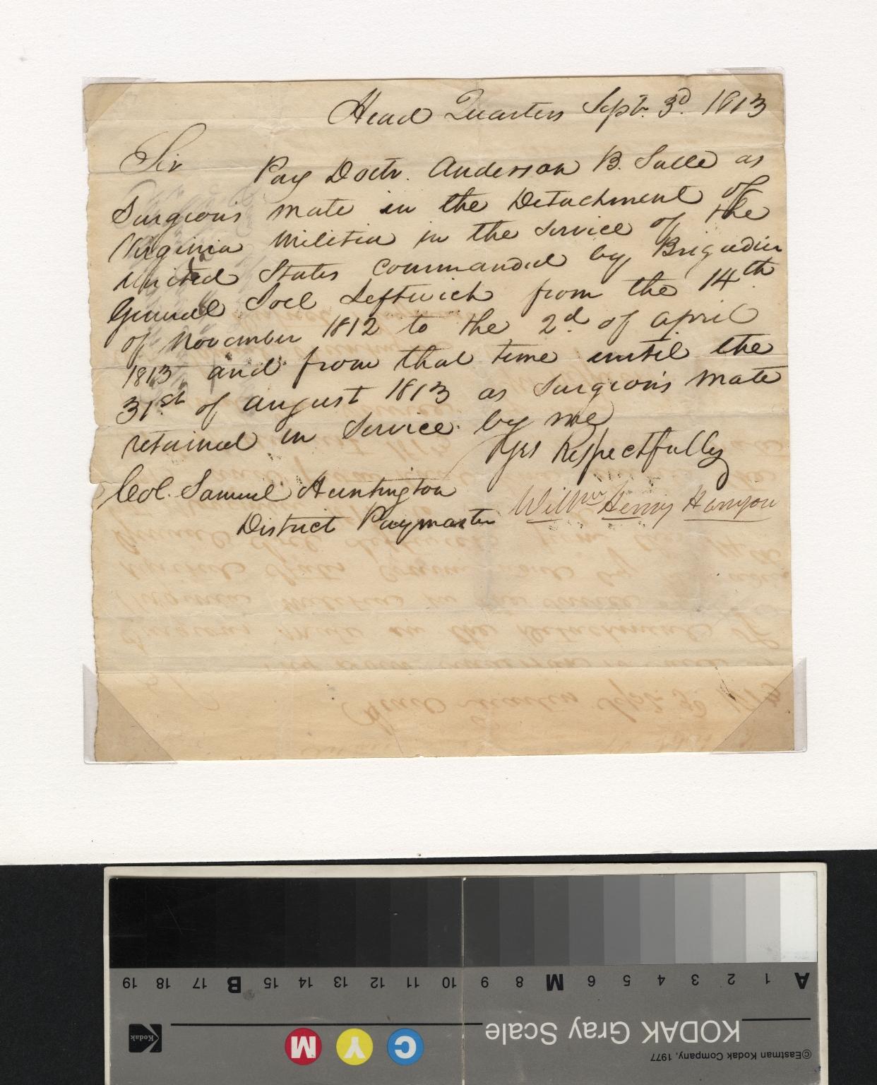 William Harrison letter to Samuel Huntington