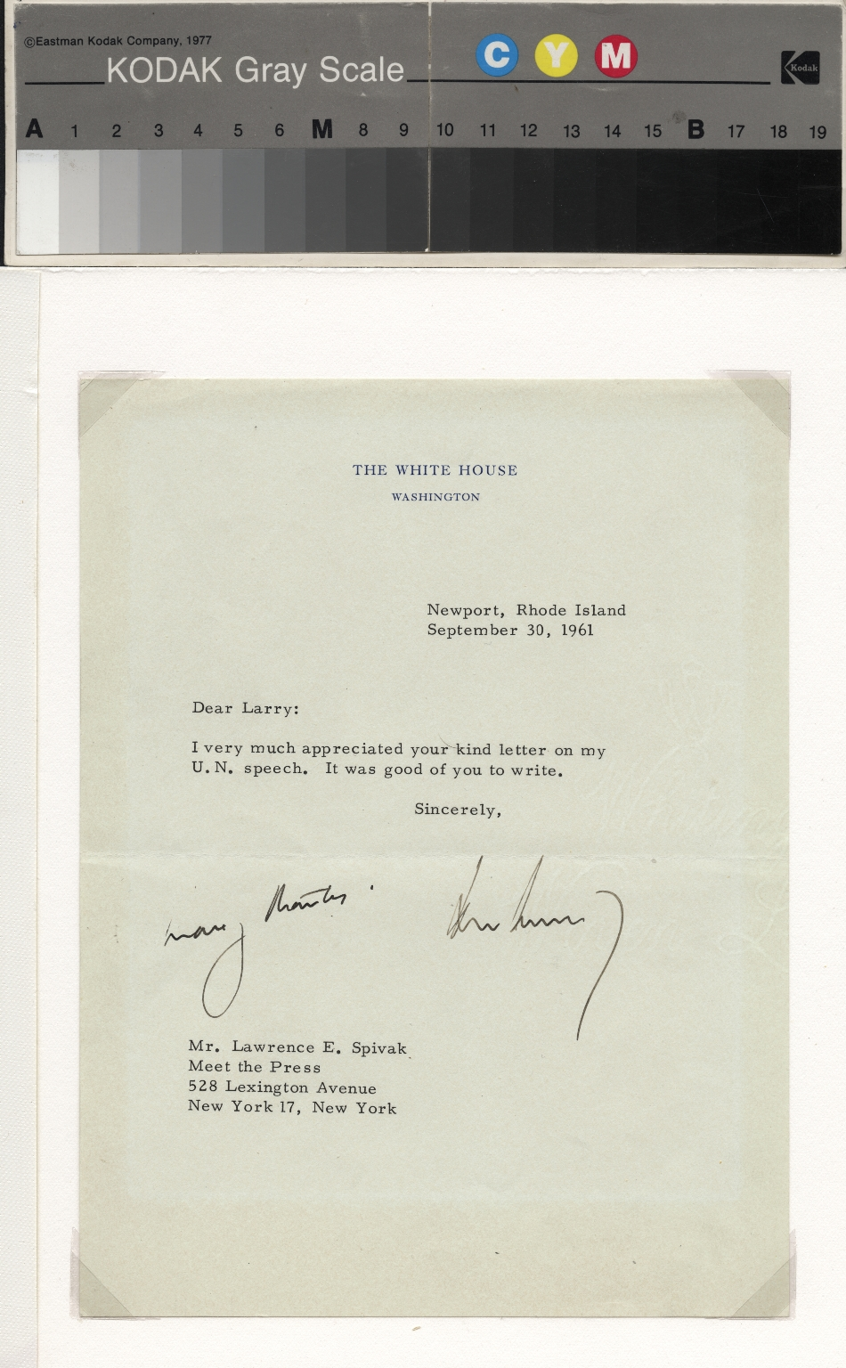 John Kennedy letter to Lawrence Spivak