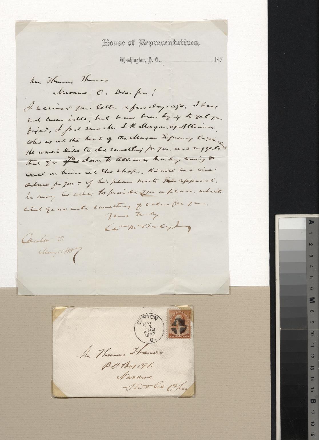 William McKinley letter to Thomas Thomas