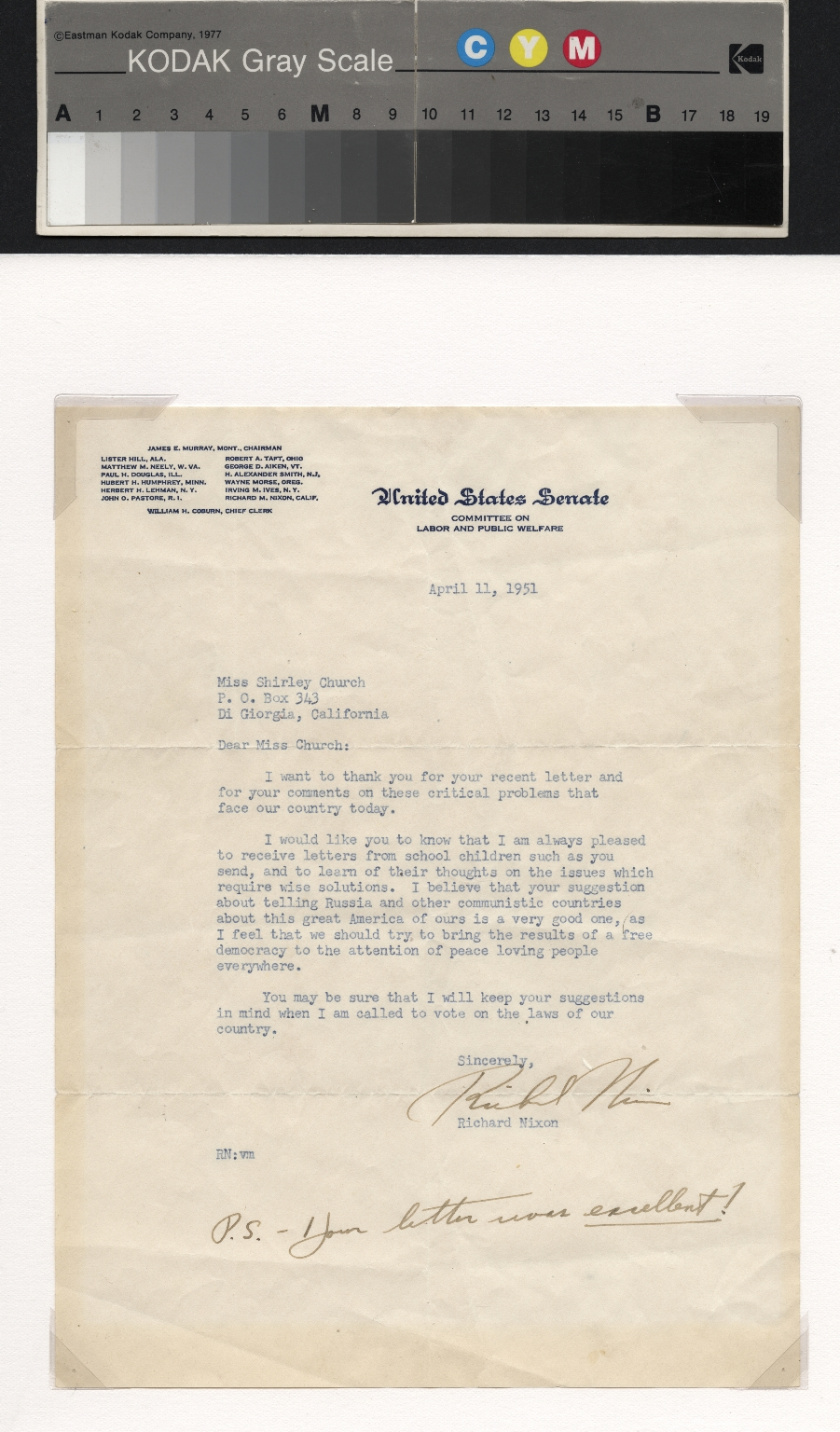 Richard Nixon letter to Shirley Church