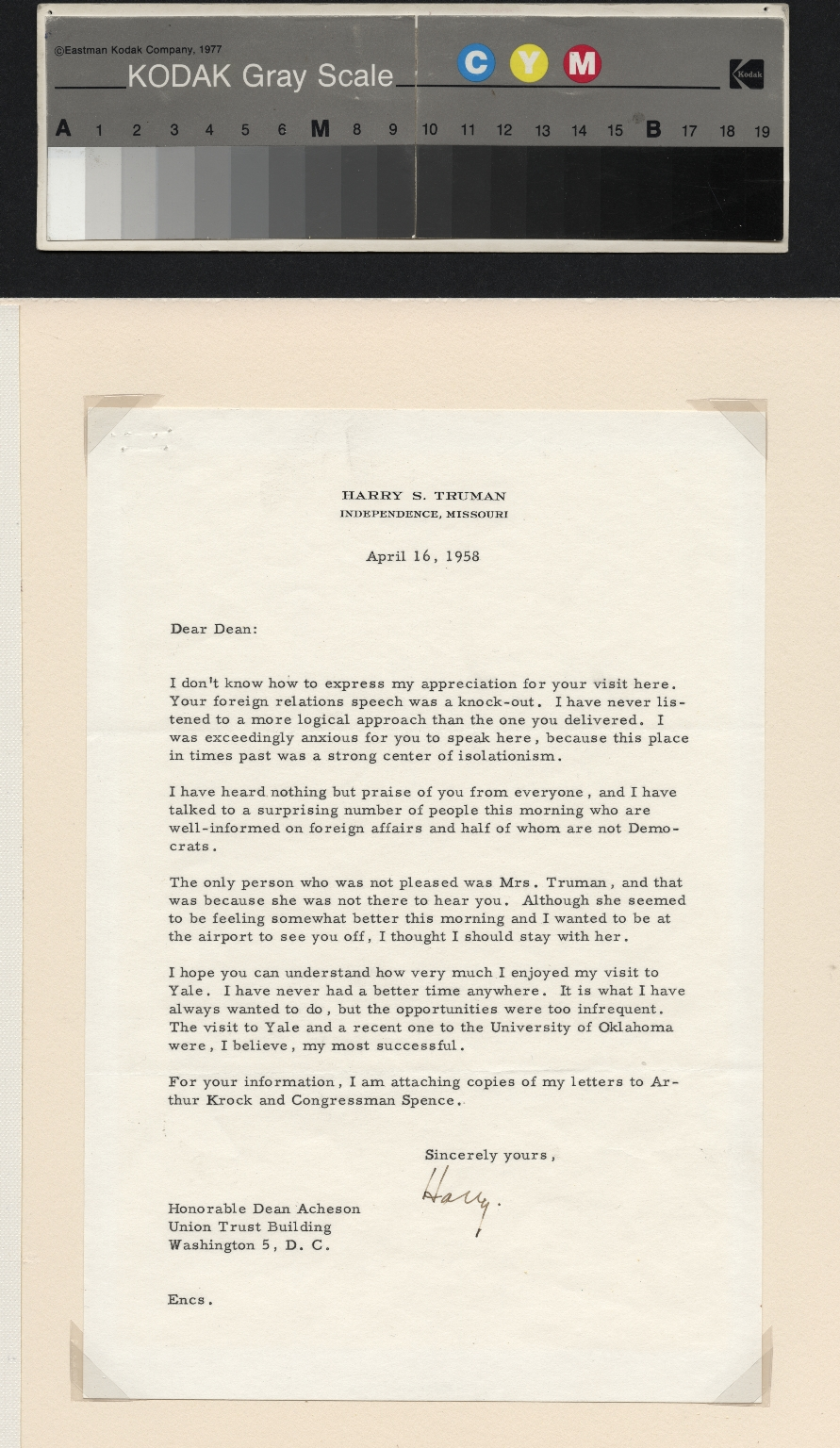 Truman letter to Dean Acheson