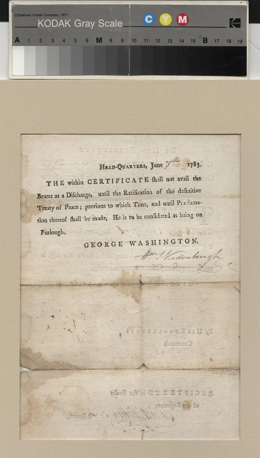 Washington certificate of furlough