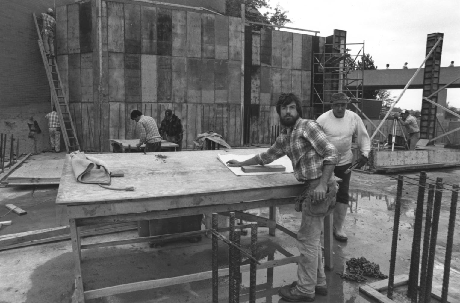 Construction Workers at the Kilian J. and Caroline F. Schmitt Interfaith Center Construction Site
