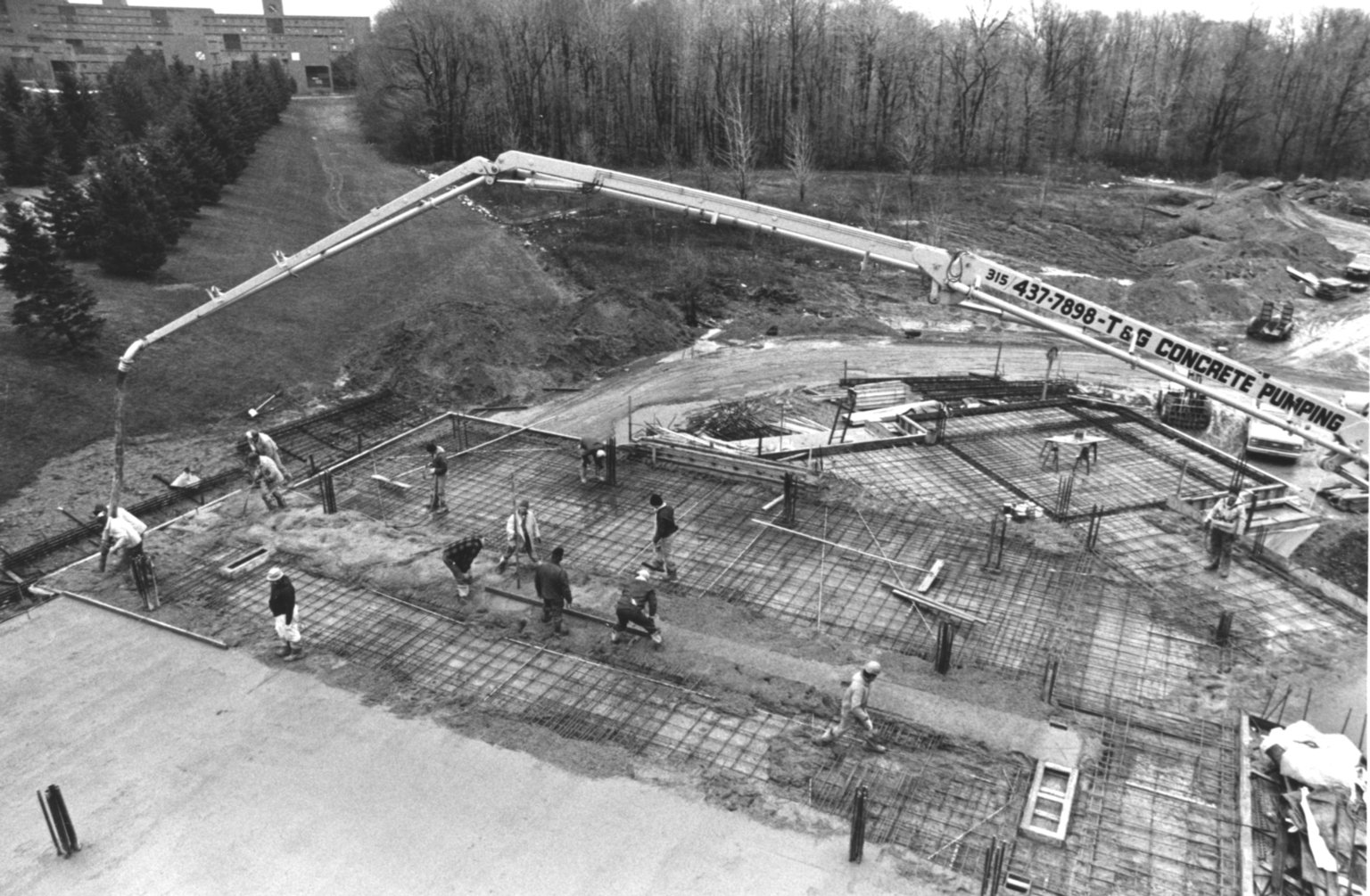 Pouring Concrete at the Kilian J. and Caroline F. Schmitt Interfaith Center Construction Site