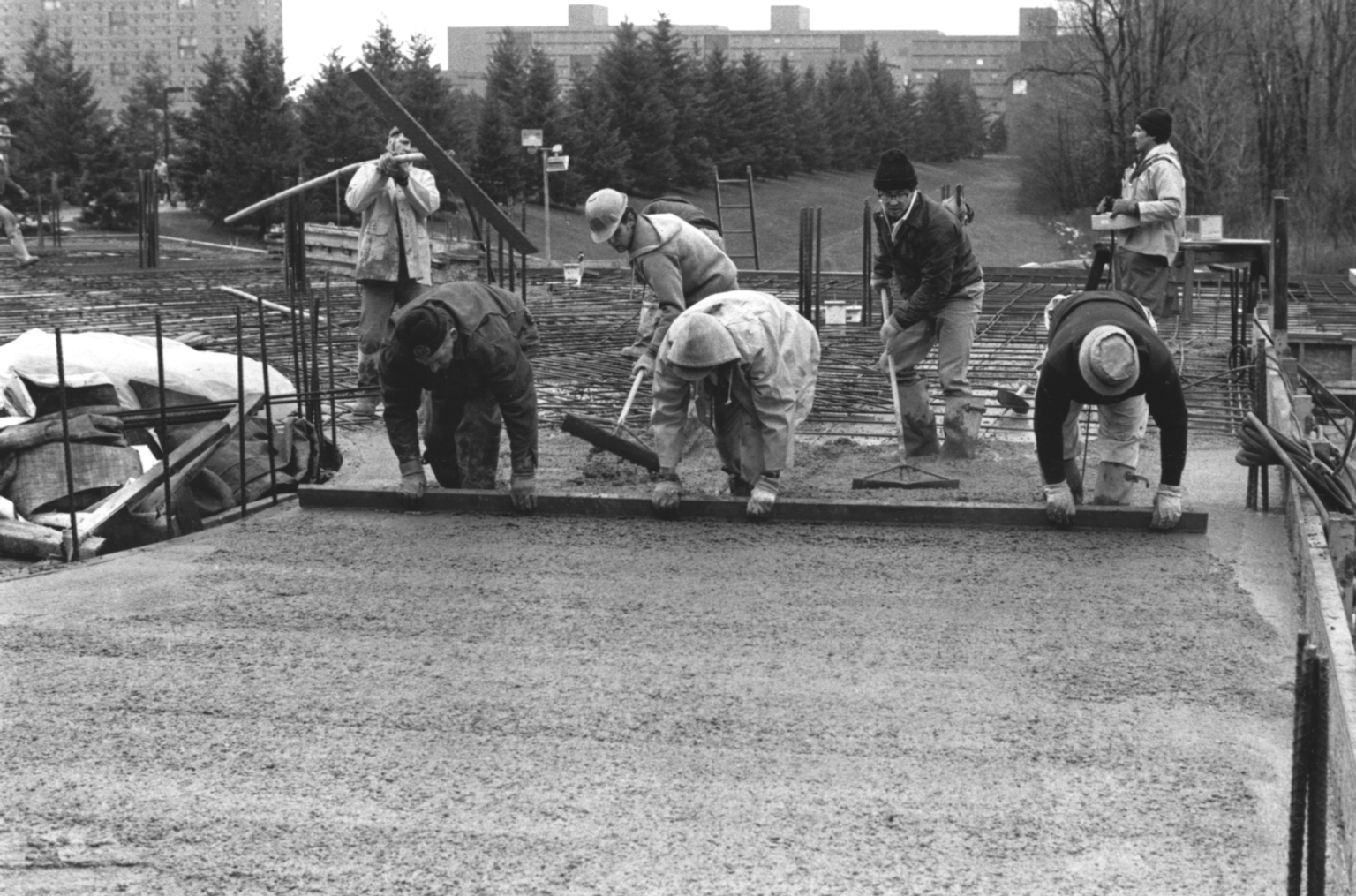 Leveling Concrete at the Kilian J. and Caroline F. Schmitt Interfaith Center Construction Site