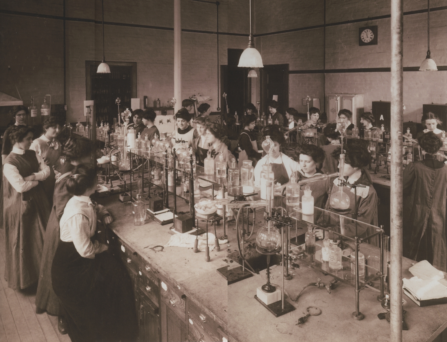Women Science Students in Chemical Laboratory
