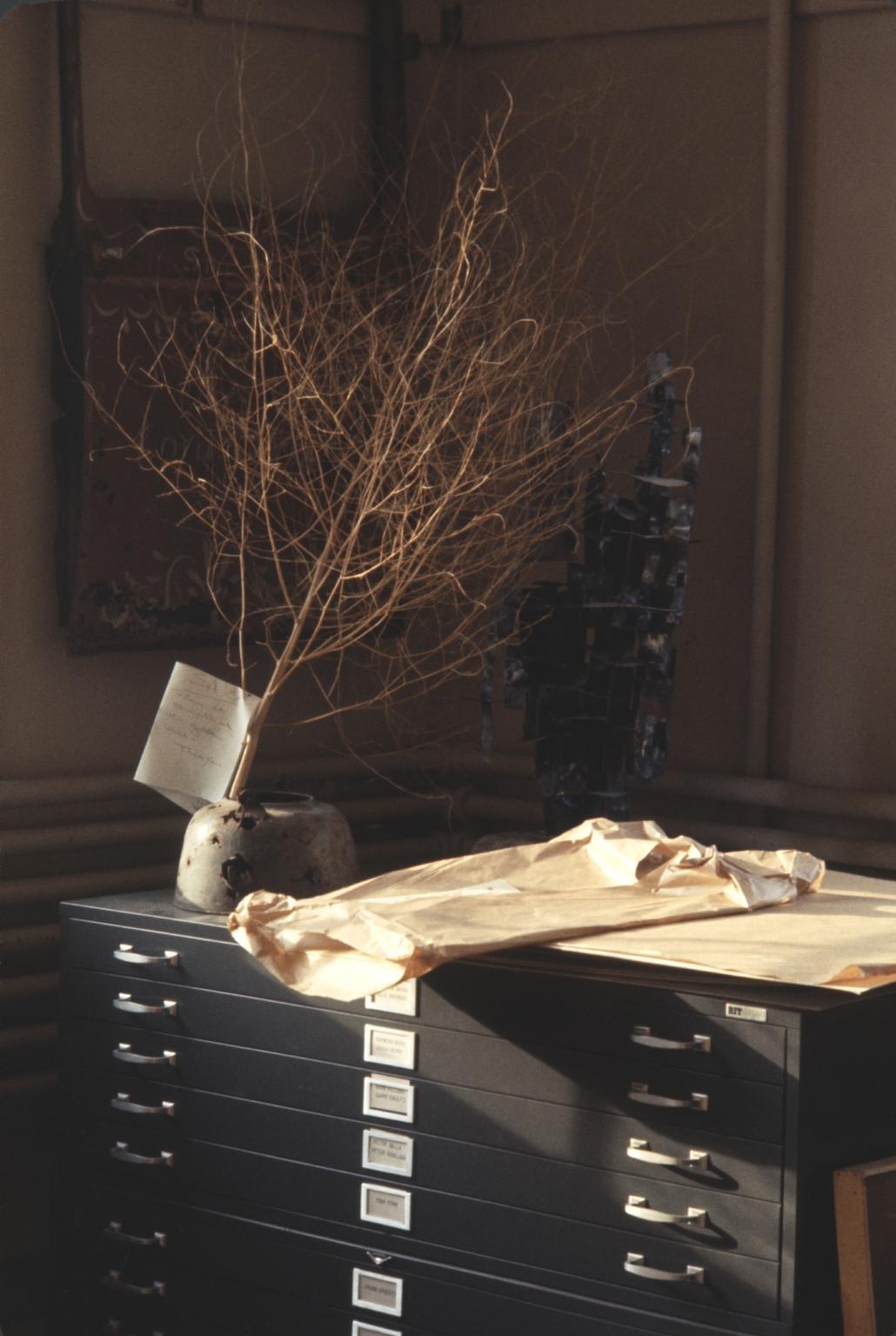 Still life over steel file flat cabinet