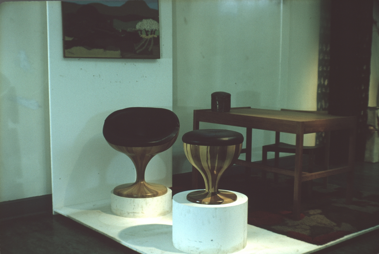 Wooden stools and table